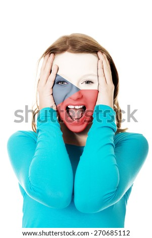Czech Republic flag painted on woman's face. - stock photo
