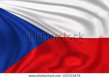 Czech Republic flag waving in the wind. High quality illustration.  - stock photo