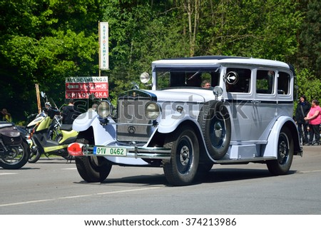 CZECH REPUBLIC - MAY 10: 1929 PRAGA Grand 8 in Czech Veteran Rallye. May 10, 2014 in Krivonoska, Czech Republic. - stock photo