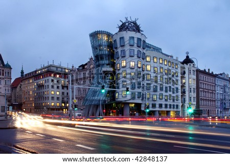 Czech republic - metropolises Prague - modern architecture - Dancing home - stock photo