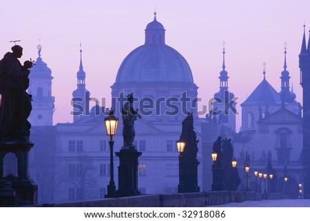 czech republic prague, charles bridge at dawn - stock photo