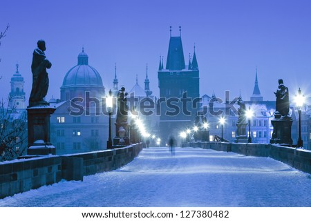 czech republic prague - charles bridge on winter morning - stock photo