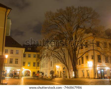 CZECH REPUBLIC, PRAGUE - MARCH 29, 2015: Night shot of Prague Streets.