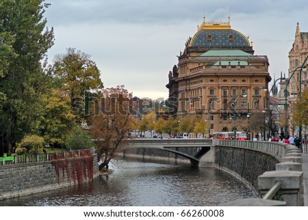 Czech Republic, Prague, National Theatre on the banks of the Vltava River - stock photo