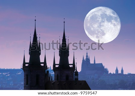 Czech Republic, Prague, silhouette of high section of Tyn church at night. - stock photo