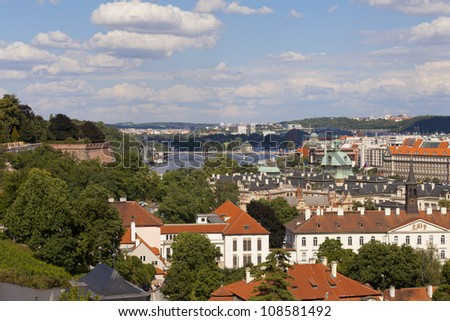 Czech republic prague - st. nicolas church and rooftops of mala strana - stock photo