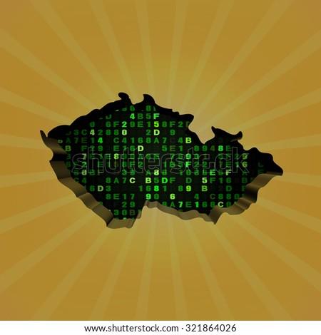 Czech Republic sunburst map with hex code illustration - stock photo