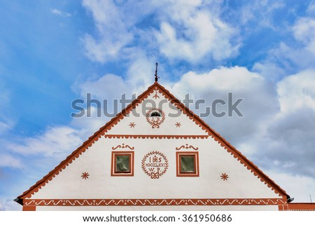Czech Republic - UNESCO village Holasovice in South Bohemia - detail one old house - stock photo