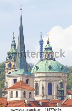Czech Repunlic, Prague - Spires of Lesser Quarter and St. Nicholas Church - stock photo