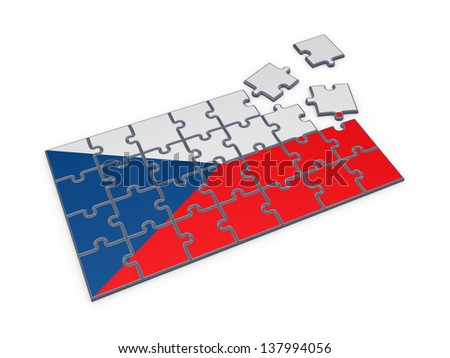 Czechian flag of puzzles.Isolated on white.3d rendered. - stock photo