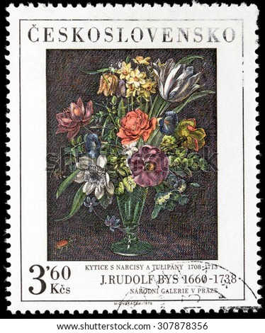 CZECHOSLOVAKIA - AUGUST 10, 2015: A stamp printed by CZECHOSLOVAKIA shows picture Narcissus and Tulips by famous Swiss painter Jan Rudolf Bys, circa November, 1976. - stock photo