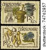 CZECHOSLOVAKIA - CIRCA 1971: A post stamps printed in Czechoslovakia shows plants Valeriana officinulis and Cichorium inlybus - stock photo