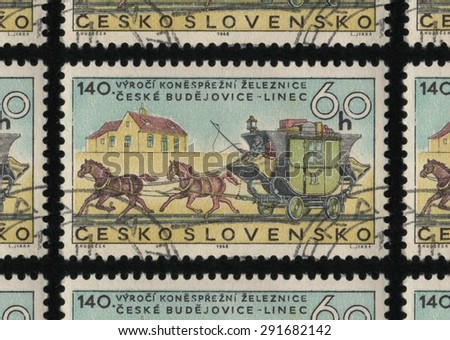 "CZECHOSLOVAKIA - CIRCA 1968: A postage stamp printed in Czechoslovakia from  ""The 100th Anniversary of the Ceske-Budejovice-Pilsen Railway"" issue, showing  a horse drawn carriage on railway tracks.  - stock photo"