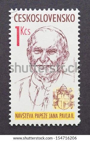 CZECHOSLOVAKIA - CIRCA 1990: a postage stamp printed in Czechoslovakia showing an image of pope John Paul II, circa 1990.