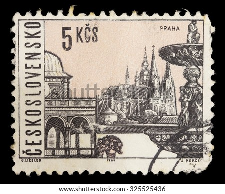 CZECHOSLOVAKIA - CIRCA 1965: A postage stamp printed in Czechoslovakia shows historical UNESCO World Heritage Sites from the city of Prague like Churches, Cathedrals, Fountains, circa 1965 - stock photo