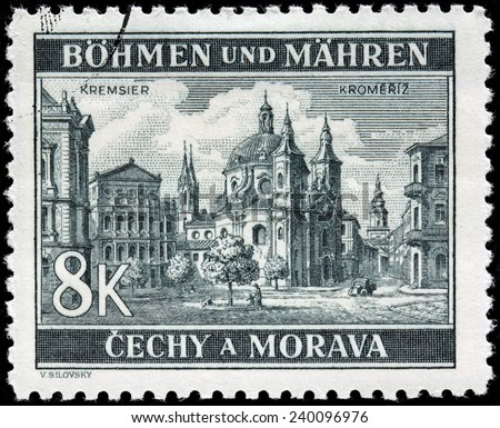 CZECHOSLOVAKIA - CIRCA 1940: A stamp printed by BOHEMIA AND MORAVIA (German Occupation Issues) shows view of Kromeriz - a Moravian town in the Zlin Region, circa 1940 - stock photo