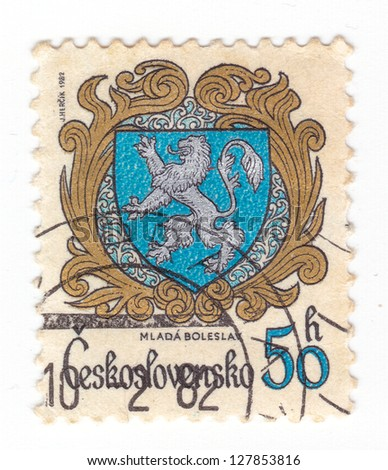 CZECHOSLOVAKIA - CIRCA 1982: a stamp printed by Czechoslovakia shows Coats of Arms of Czechoslovak towns. Mlada Boleslav, series, circa 1982 - stock photo