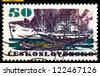 CZECHOSLOVAKIA - CIRCA 1972: a stamp printed by Czechoslovakia  shows  Ship Spark ( Jiskra) , sea-going  vessels, circa 1972. - stock photo
