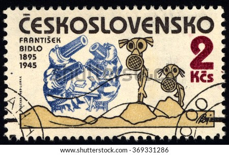 CZECHOSLOVAKIA - CIRCA 1985: A stamp printed in Czechoslovakia dedicated to 90th Birthday of Frantisek Bidlo, Czech Caricaturist, circa 1985 - stock photo