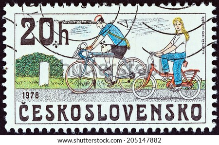 "CZECHOSLOVAKIA - CIRCA 1979: A stamp printed in Czechoslovakia from the ""Historic Bicycles "" issue shows Modern Bicycles, circa 1979.  - stock photo"