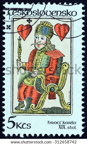 "CZECHOSLOVAKIA - CIRCA 1984: A stamp printed in Czechoslovakia from the ""Playing Cards "" issue shows King of Hearts 19th century, circa 1984.  - stock photo"