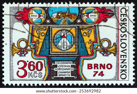 CZECHOSLOVAKIA - CIRCA 1974: A stamp printed in Czechoslovakia issued for the BRNO 74 National Stamp Exhibition shows Exhibition Allegory, circa 1974.  - stock photo