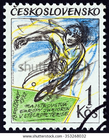 CZECHOSLOVAKIA - CIRCA 1992: A stamp printed in Czechoslovakia issued for the European Junior Table Tennis Championships, Topolcany, Slovakia shows player, circa 1992.  - stock photo