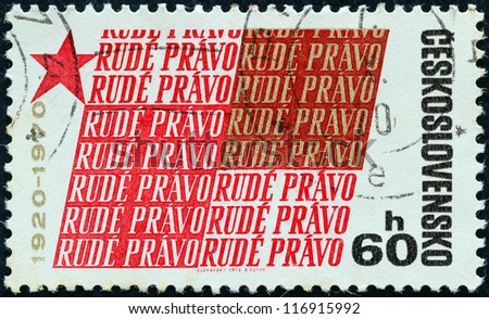 CZECHOSLOVAKIA - CIRCA 1967: A stamp printed in Czechoslovakia issued for the 50th anniversary of Rude Pravo (newspaper) shows Rude Pravo logo, circa 1967. - stock photo