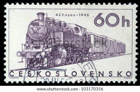 CZECHOSLOVAKIA - CIRCA 1965: A stamp printed in Czechoslovakia showing the '423.0206' Locomotive of 1946, circa 1965. - stock photo