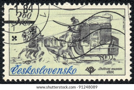 CZECHOSLOVAKIA - CIRCA 1984: A stamp printed in CZECHOSLOVAKIA  shows  a  Mail sleigh, series  a postal museum, circa 1984