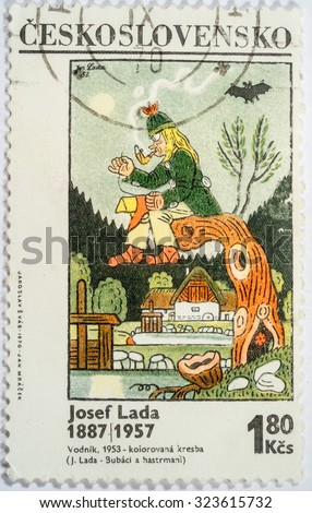 "CZECHOSLOVAKIA - CIRCA 1970: A stamp printed in Czechoslovakia shows a Painting ""The Water Sprite, 1953"" with the same inscription, from the series ""Paintings by Joseph Lada, 1887-1957"", circa 1970 - stock photo"