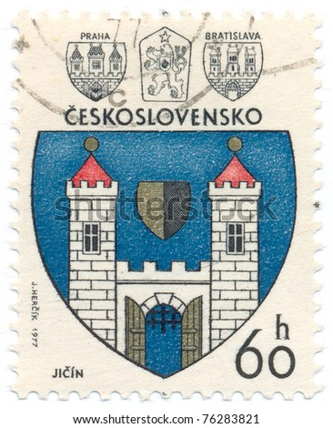 CZECHOSLOVAKIA - CIRCA 1977: A stamp printed in Czechoslovakia, shows arms of Jicin, circa 1977