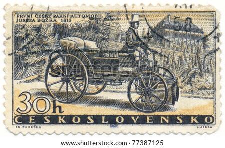 CZECHOSLOVAKIA - CIRCA 1958: A stamp printed in Czechoslovakia, shows Bozek's Steam Car of 1815, circa 1958 - stock photo