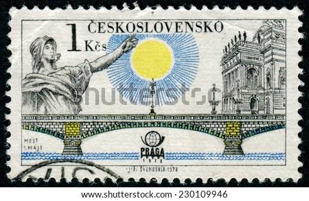 CZECHOSLOVAKIA - CIRCA 1978: A stamp printed in CZECHOSLOVAKIA shows Bridge1 May, circa 1978 - stock photo