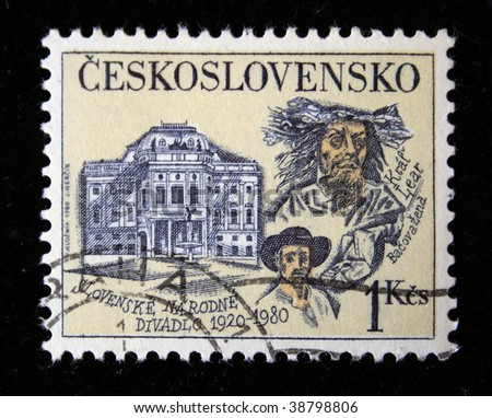 CZECHOSLOVAKIA - CIRCA 1980: A Stamp printed in Czechoslovakia shows building of Slovakian people theater, circa 1980 - stock photo