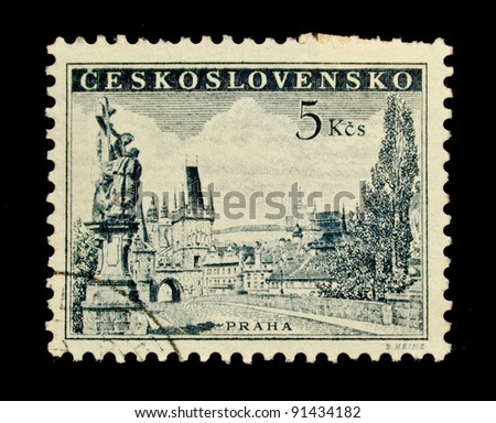 CZECHOSLOVAKIA - CIRCA 1953: A stamp printed in Czechoslovakia, shows Charles bridge and Prague castle, circa 1953