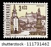 "CZECHOSLOVAKIA - CIRCA 1965: A stamp printed in Czechoslovakia, shows cityscape of Bratislava, with the same inscription, from the series ""Czechoslovakia Towns"", circa 1965 - stock photo"