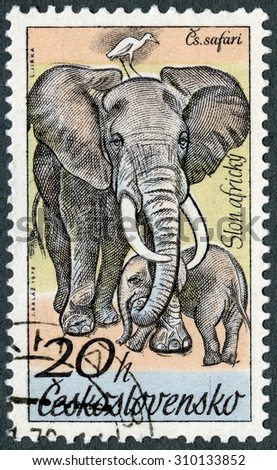 CZECHOSLOVAKIA - CIRCA 1976: A stamp printed in Czechoslovakia shows Elephants, series African animals in Dvur Kralove Zoo, circa 1976 - stock photo
