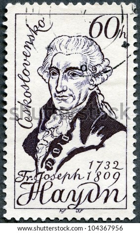 CZECHOSLOVAKIA - CIRCA 1959: A stamp printed in Czechoslovakia shows Franz Joseph Haydn(1732-1809), 150th death anniversary, Austrian composer, circa 1959