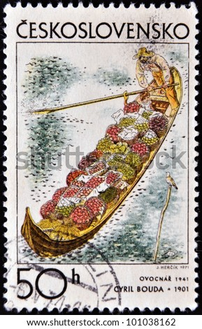 CZECHOSLOVAKIA - CIRCA 1971: A stamp printed in Czechoslovakia, shows fruit grower�´s barge by Cyril Bouda, circa 1971 - stock photo