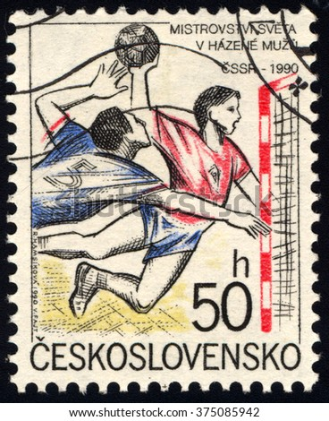 CZECHOSLOVAKIA - CIRCA 1990: A stamp printed in Czechoslovakia shows Handball, circa 1990 - stock photo
