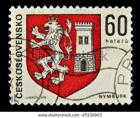 CZECHOSLOVAKIA - CIRCA 1975: A stamp printed in CZECHOSLOVAKIA shows image of a national emblem, circa 1975 - stock photo
