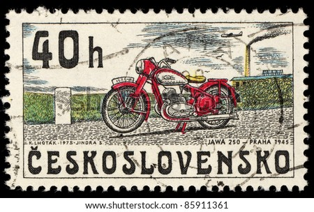 CZECHOSLOVAKIA - CIRCA 1975: A stamp printed in Czechoslovakia shows image of a vintage motorcycle, JAWA 250 year 1945, circa 1975