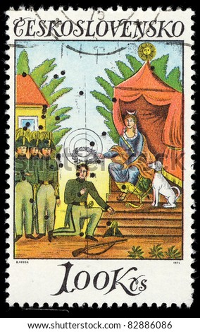 CZECHOSLOVAKIA - CIRCA 1974: A Stamp printed in Czechoslovakia shows image of Czechoslovakia Painting, circa 1974 - stock photo