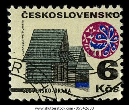 CZECHOSLOVAKIA -CIRCA 1971:A stamp printed in Czechoslovakia shows image of Orava is the traditional name of a region situated in northern Slovakia and partially also in southern Poland, circa 1971.