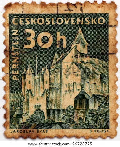 CZECHOSLOVAKIA - CIRCA 1958: A stamp printed in Czechoslovakia shows image of Pernstejn Castle, series, circa 1958