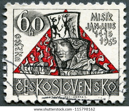 CZECHOSLOVAKIA - CIRCA 1965: A stamp printed in Czechoslovakia shows Jan Hus, the 550th anniversary of the death of Hus (1369-1415), religious reformer, circa 1965