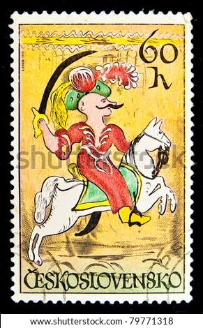 CZECHOSLOVAKIA - CIRCA 1972: A stamp printed in Czechoslovakia, shows Janissary, circa 1972 - stock photo