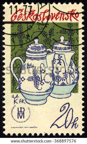 """CZECHOSLOVAKIA - CIRCA 1977: A stamp printed in Czechoslovakia shows Jug with Cobalt Decoration """"The Bird and the Rock"""", Tradition of Czech Porcelain series, circa 1977 - stock photo"""