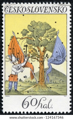 CZECHOSLOVAKIA - CIRCA 1974: A stamp printed in Czechoslovakia, shows landscape with Pierrot and flags 1828, circa 1974 - stock photo
